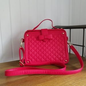 Betsey Johnson Red Quilted Bow Satchel